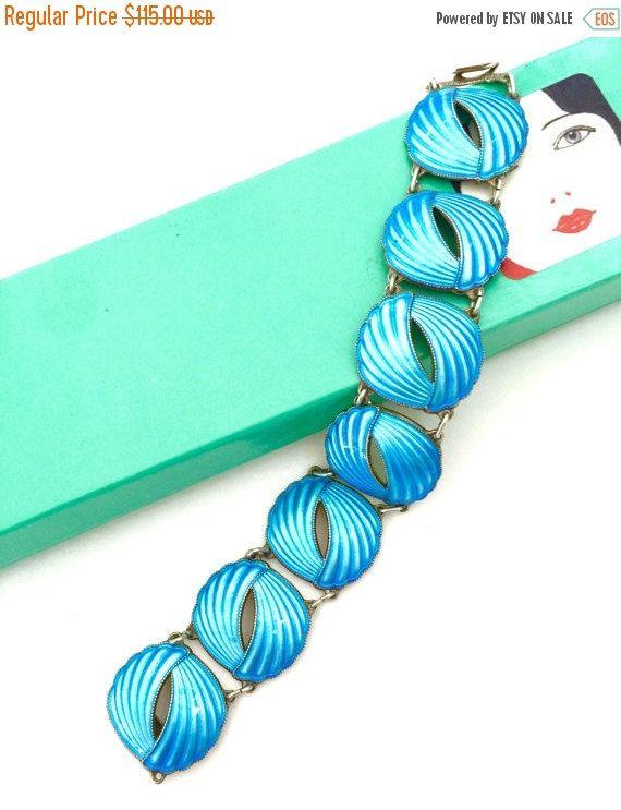 Sterling Silver Nils Elvik Enamel Bracelet by Vintageimagine