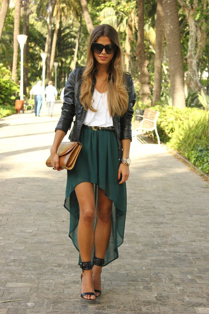 Short in the front, Long in the backShoes, Fashion, Style, High Low Skirts, Highlow, Dresses, Outfit, Long Skirts, Leather Jackets