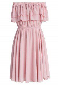 Endless Off-shoulder Frilling Dress in Pastel Pink pink XS-S  – Warm Weather Fashion