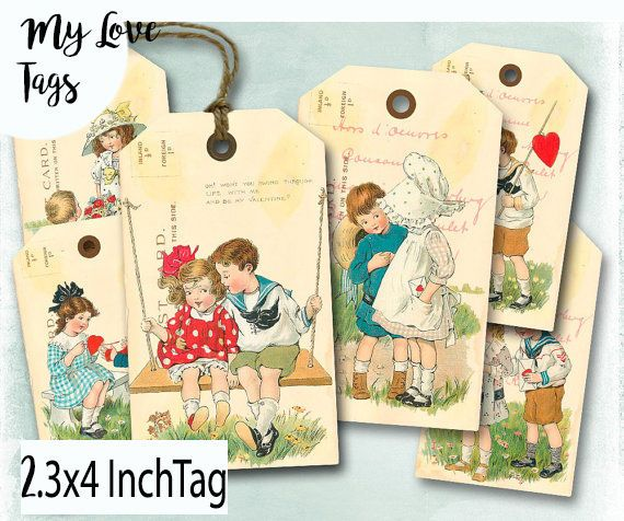 12x Gift Thank you Favour Party Tags with Twines,Scrapbook Vintage Paper Card