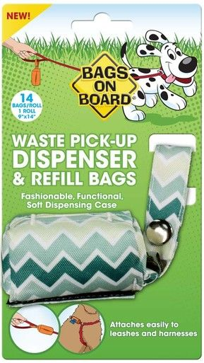 Bags on Board Fashion Dispenser Green Chevron Waste Pick-up Refill Bags 14 count