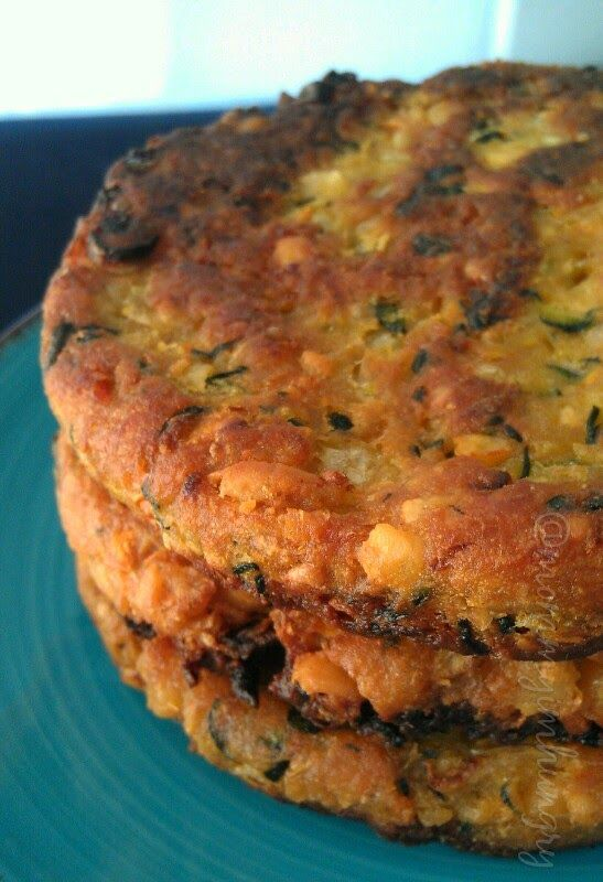 Garbanzo Veggie Burgers 30 oz can garbanzo beans, drained 1 white onion, finely diced 2-3 medium zucchini, diced or shredded 1 large carrot, shredded 3 tsp curry powder 1 TBL chopped garlic salt and pepper to taste 3 tsp vegetable stock powder (I crumbled 1 GF veggie bouillon cube) 3/4 cup wheat flour (OR gluten free flour) oil for frying