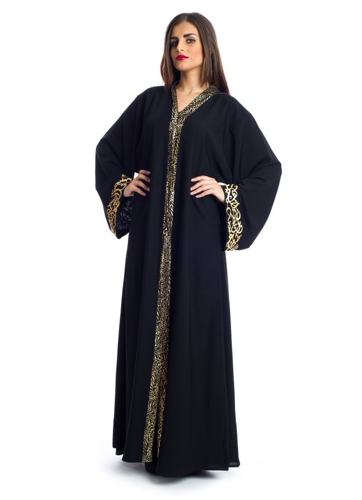 Step up your traditional look with a splash of glamour in this number by Xela! It features a free flowy Abaya made from the finest Neda fabric complimented by gold Arabic prints from the V-neck down across the body and sleeves to bring out that elegant look to every woman. Makes a suitable choice for social gatherings.