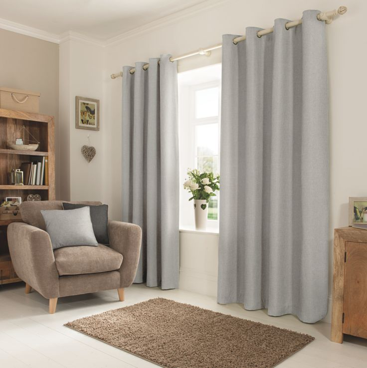 George Home Grey Textured Weave Eyelet Curtains | Asda | £30