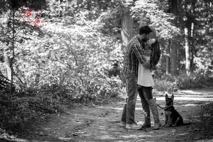 Engagement picture idea with German Shepard puppy - www.ajphotographer.ca