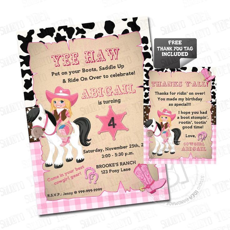 Cowgirl Party Printable Invitation with FREE Thank you Matching Tag-DIY Digital File-Cowgirl Birthday Invitation -You Print