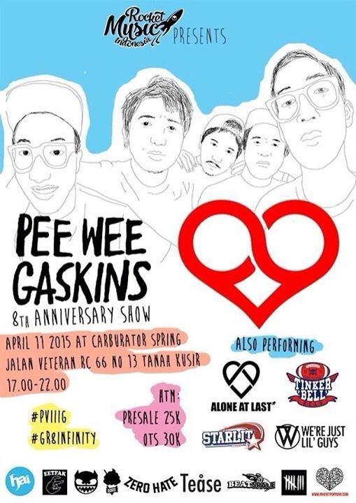Jadwal Konser Musik Pee Wee Gaskins 8th Anniversary Show Di Carburatorspring Cafe Bintaro, event musik Indie, Pop/Pop Punk/J-Pop/Progresif, soft rock di Bintaro, Jakarta, Tanah kusir