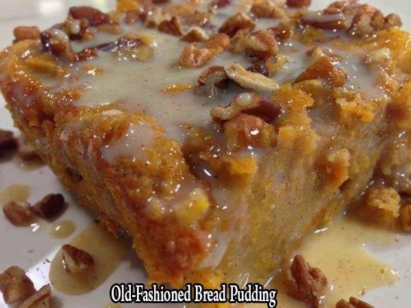 Grandma's Old-Fashioned Bread Pudding with Vanilla Sauce! - Top 10 Recipes