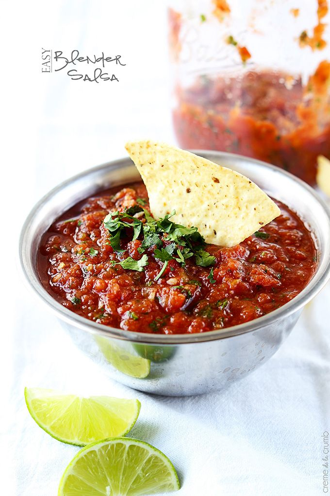This amazing salsa requires no tomato chopping and comes together in just a few minutes with a blender! Restaurant quality - without the restaurant price!