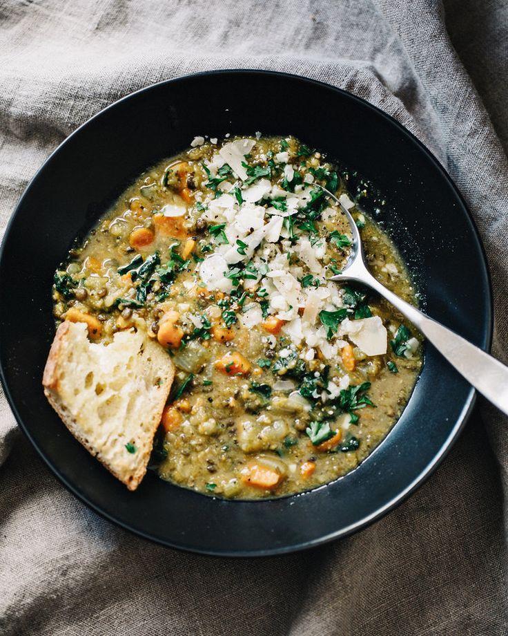Everyday lentil soup | carrot sweet potato celery red lentils puy lentils kale parsley