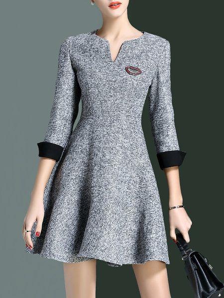 Shop Mini Dresses - Simple A-line V Neck 3/4 Sleeve Mini Dress online. Discover unique designers fashion at StyleWe.com.