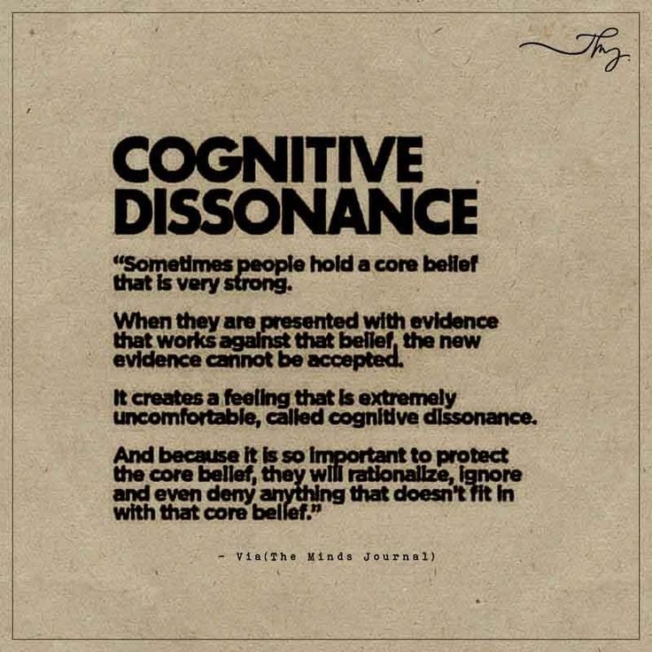 Cognitive Dissonance - http://themindsjournal.com/cognitive-dissonance/