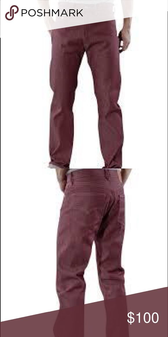 LEVI'S 501 1436 SHRINK TO FIT BORDEAUX Jean 36 Levi's 501 1436 Jeans Shrink to Fit Bordeaux Rigid Denim Jeans Size 36 X 32  Color: Bordeaux  Style: 501 1436 Shrink To Fit  Levis recommends dry cleaning or freezing your jeans instead of washing. If you plan to wash, order a bigger and longer 501 STF jeans and wash them separately a couple times. 100% Cotton  Button Fly Closure Levi's Jeans Straight