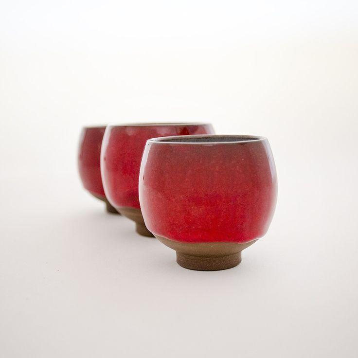 Raku Teacup, set of 3