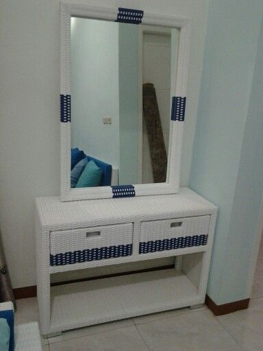 Cabinet drawer and mirror frame......., Material....  Structure wood...,rattan synthetic wicker...
