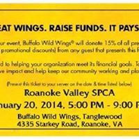 RVSPCA Dinner Club - Buffalo Wild Wings Roanoke Valley SPCAinRoanoke, Virginia