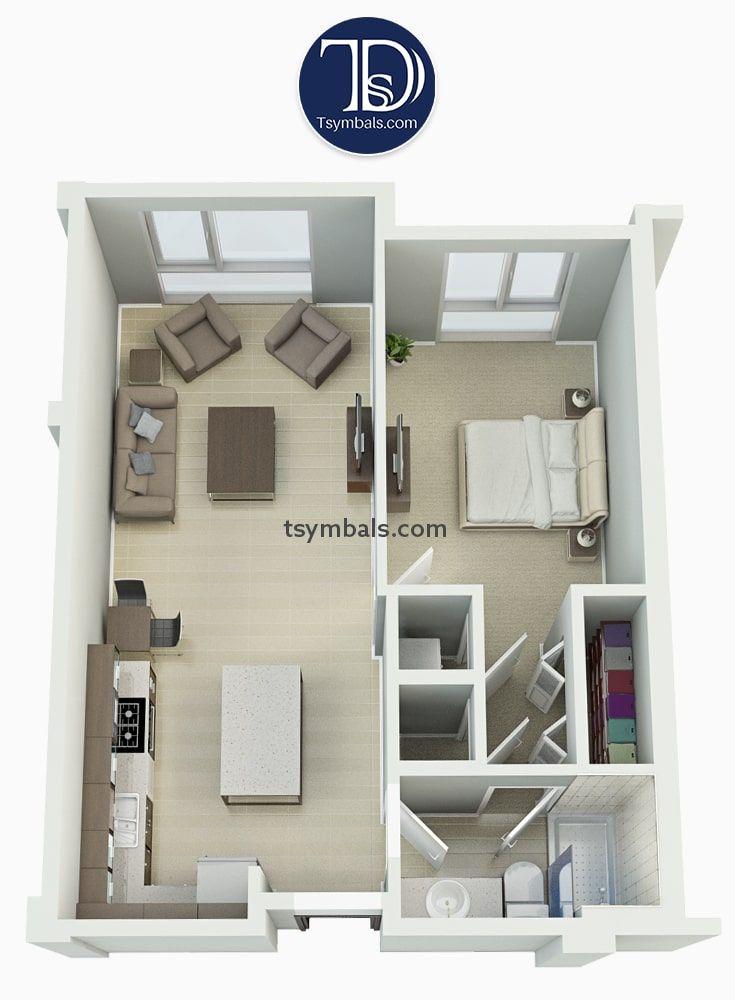 Modern One Bedroom 3d Floor Plans Tsymbals Design One Bedroom Flat Apartment Floor Plans Apartment Plans