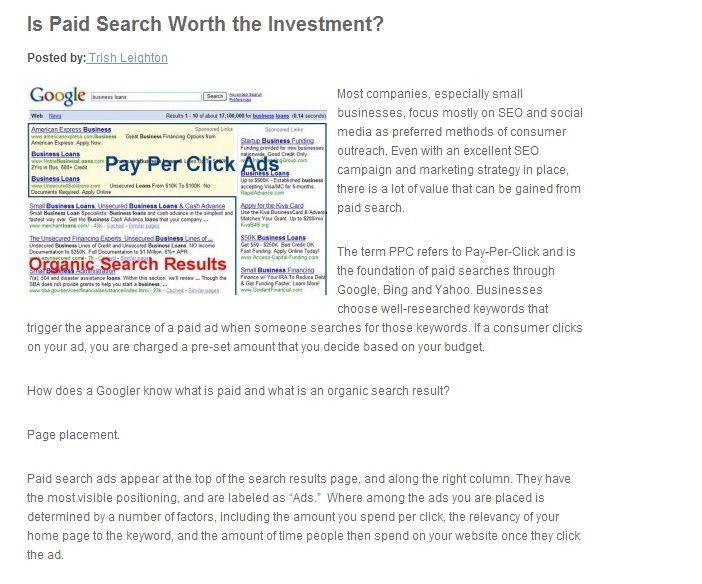 Many business owners wonder if SEO is enough, or if a paid search can further their reach. Here are a few tips from Breezego Internet Marketing Solutions. For more:http://www.breezego.com/is-paid-search-worth-the-investment/