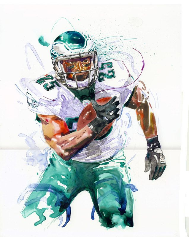 Watercolor portrait painting of Philadelphia Eagles football player LeSean McCoy-giclee from original. $60.00, via Etsy.