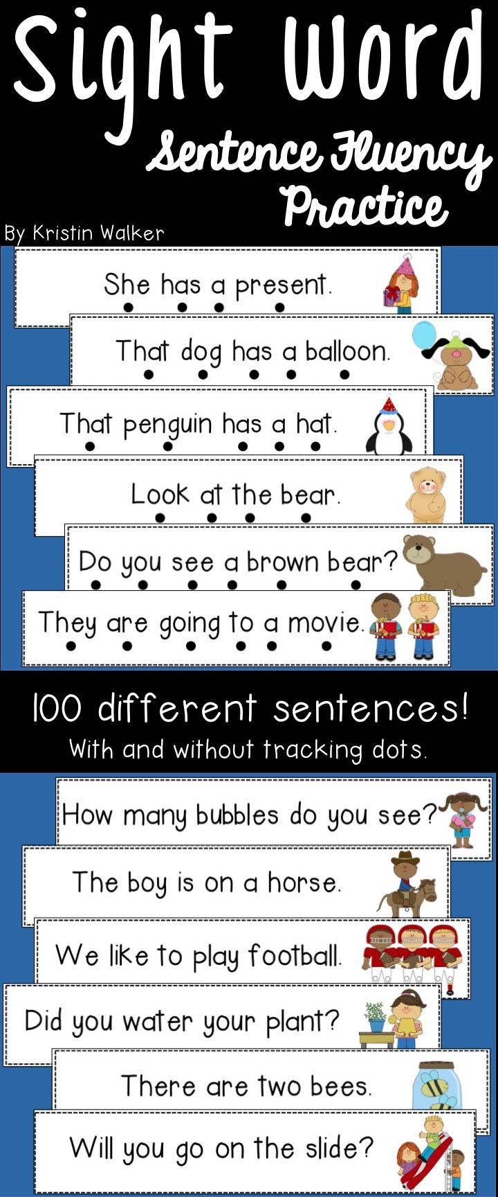 Use these sentence fluency cards with your students to practice fluency, sight words, one-to-one correspondence, decoding simple words, using picture clues, using expression, etc.