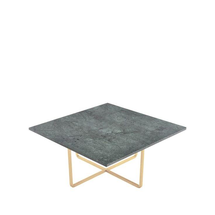 Ninety soffbord - grön marmor med stativ i mässing