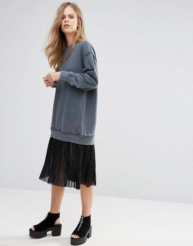 Pull&Bear Pleat Detail Bottom Sweat Dress - Gray