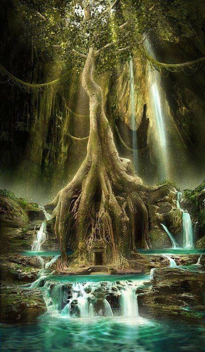 Tree and Waterfall Dancing Tree Spirit Waterfall