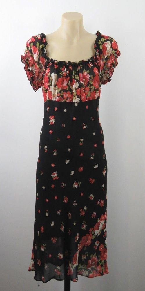 Size L 14 Ladies Dress Black Floral Peasant Boho Chic Feminine Vintage Design #Unbranded #TeaDress #Casual
