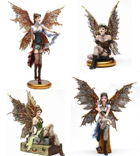 "Steampunk Fairy Set of 4 Figurines ""Rebecca"" ""Jess"" ""Tabitha"" ""Naomi"""