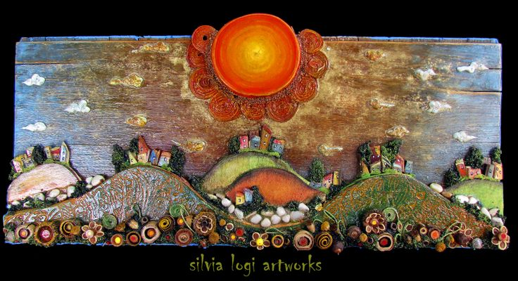 #landscape #sun #hills #flowers #fields inn my #mixedmedia #mosaic see more on my fb page https://www.facebook.com/pages/Silvia-Logi-Artworks/121475337893535?ref=br_rs