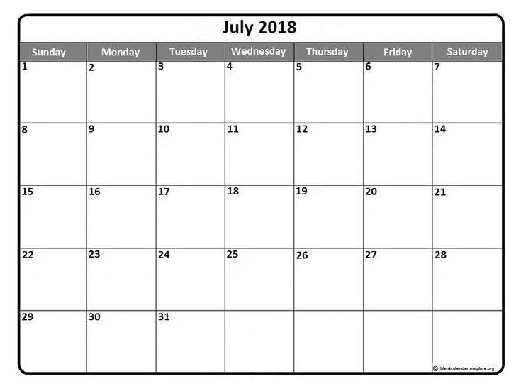 #July2018 #calendars July 2018  printable calendar template