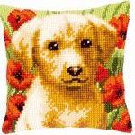 Labrador Puppy in Flower Field - kruissteekkussen - Vervaco