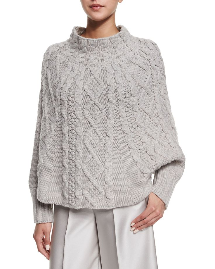 Co Cable-Knit Long-Sleeve Poncho, Gray