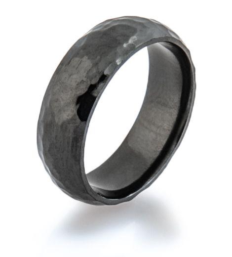 Hammered Black Wedding Ring