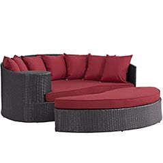 $1006 On Lex Mod   Convene Outdoor Patio Daybed Convene Outdoor Patio Daybed  In Espresso Red