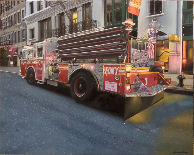 "Oil on wood panel, 60 cm x 75 cm, 23,1/2 x 29,1/2"", 'FDNY Duane Street'. by Antti Rytkönen."