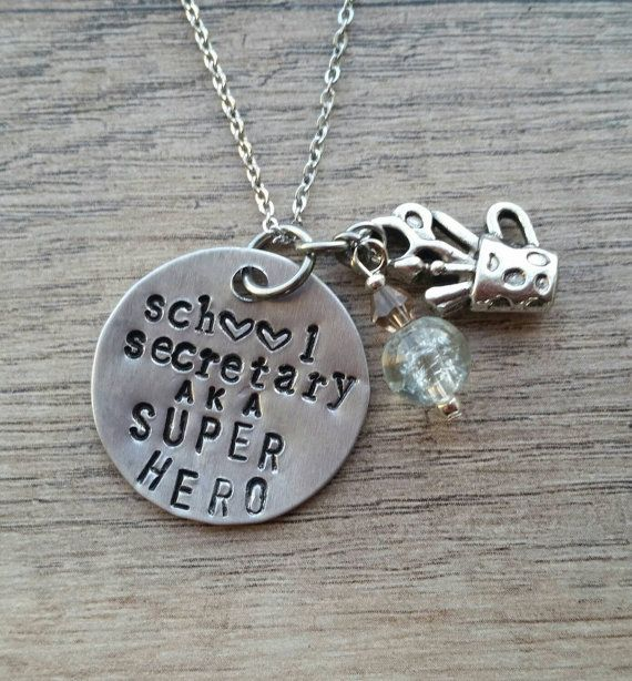 School Secretary aka SUPER HERO necklace by SunflowerStamping
