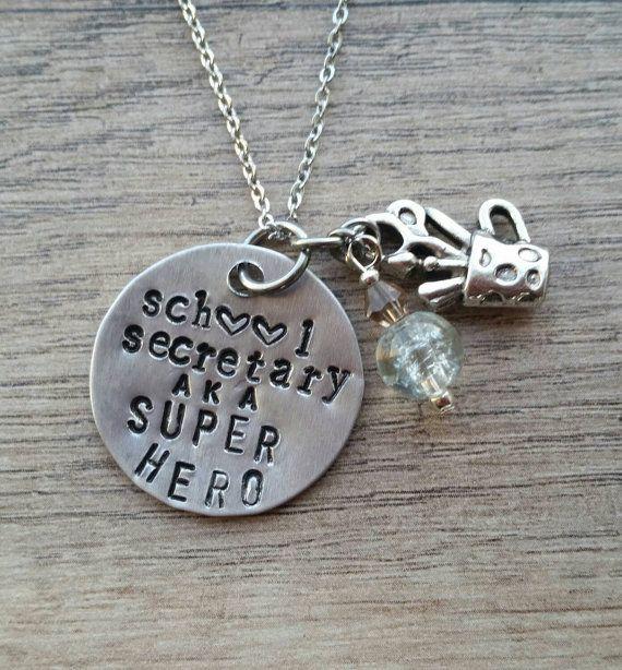 School Secretary aka SUPER HERO necklace by SunflowerStamping