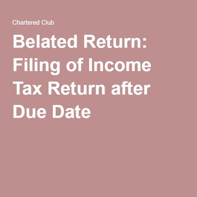 Belated Return: Filing of Income Tax Return after Due Date