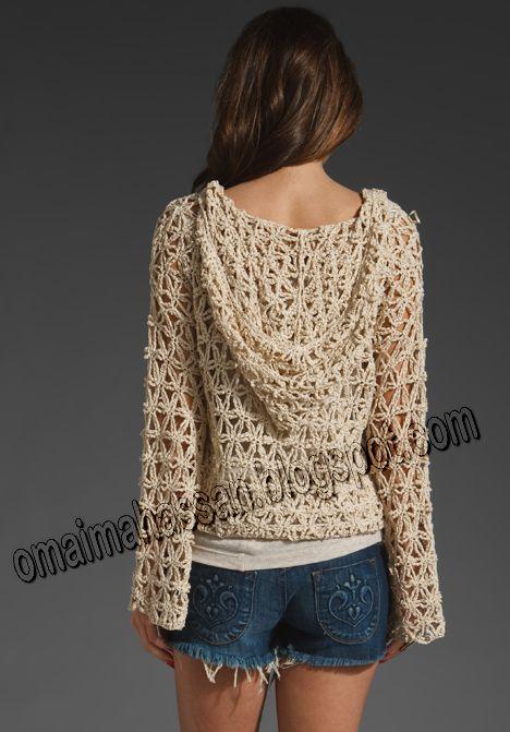 crochet kingdom (E.H): Unusual Crochet Hoodie ! Star Stitch Crochet Hoodie, crocheted in thin ribbon yarn. (2/6) (hva)
