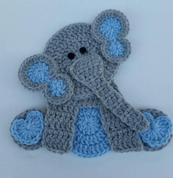 E is for Elephant: Crochet Elephant Applique - Repeat Crafter Me | 587x570