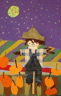 first grade scarecrows, I like painted lines in background.