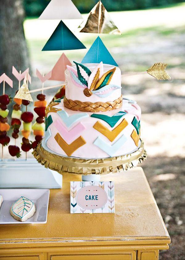 Girly and Stylish Bow & Arrow Themed Party - Birthday Cake
