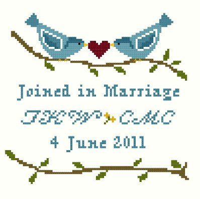 Lovebirds Wedding Sampler Cross Stitch by blackphoebedesigns, $7.00