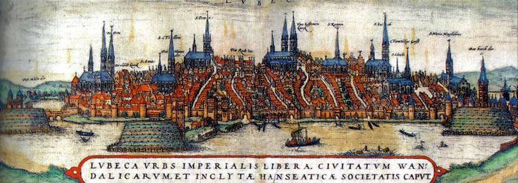 Lübeck, Germany.  From a Polish 14th-century colored lithograph.