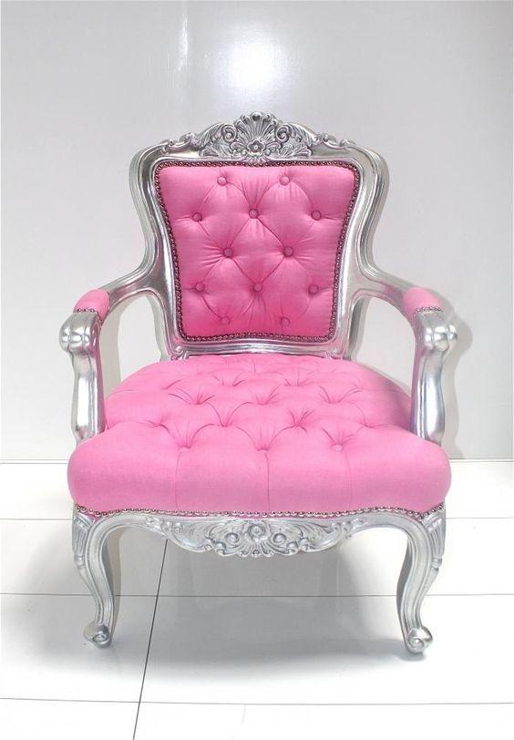 Barok Chair - Silver/Pink
