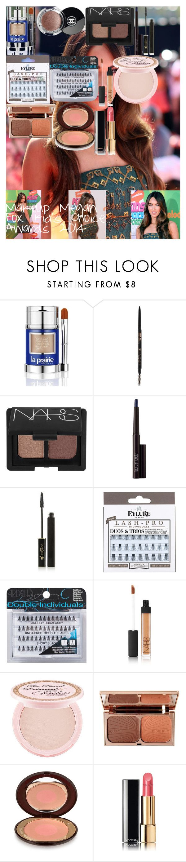 """Makeup LookMegan Fox Kid's Choice Awards 2014"" by oroartye-1 on Polyvore featuring beauty, Nickelodeon, La Prairie, Anastasia Beverly Hills, NARS Cosmetics, Laura Mercier, Lancôme, eylure, Ardell and Too Faced Cosmetics"