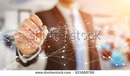 Dot flying network drawn by businessman on blurred background 3D rendering