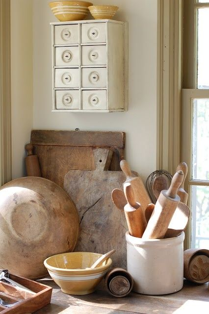 Bread Boards, Yellow Ware, Rolling Pins, Crocks, Butter Molds and Spice Box ♥