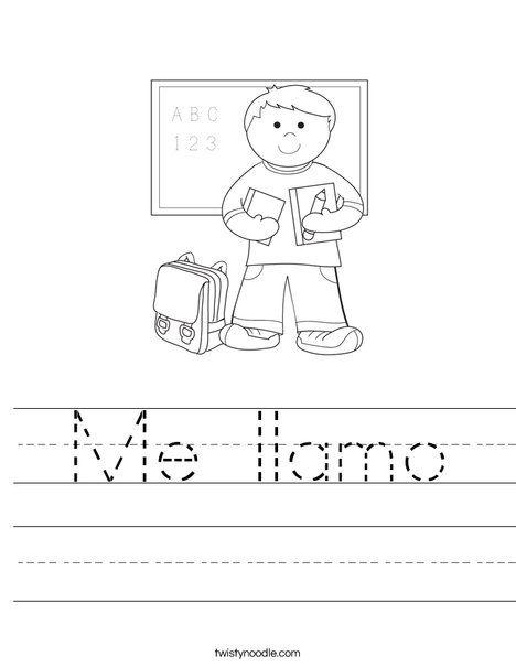 Me llamo Worksheet Elementary spanish, Spanish kids